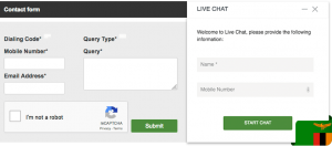 Betway live chat and contact form