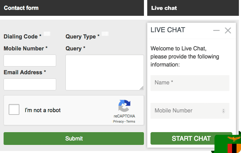 Betway contact form and live chat