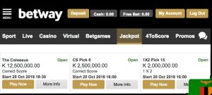 Betway jackpot games