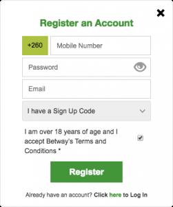 Betway registration form