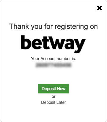 Betway successful registration
