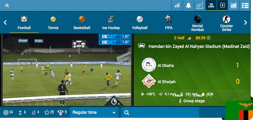 Live streaming and betting options in 1xBet In-Play
