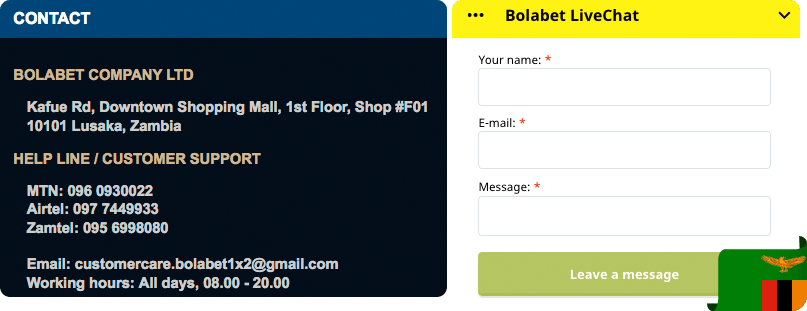 Bolabet1x2 contacts and support